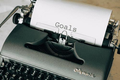 Goals written in a typewriter