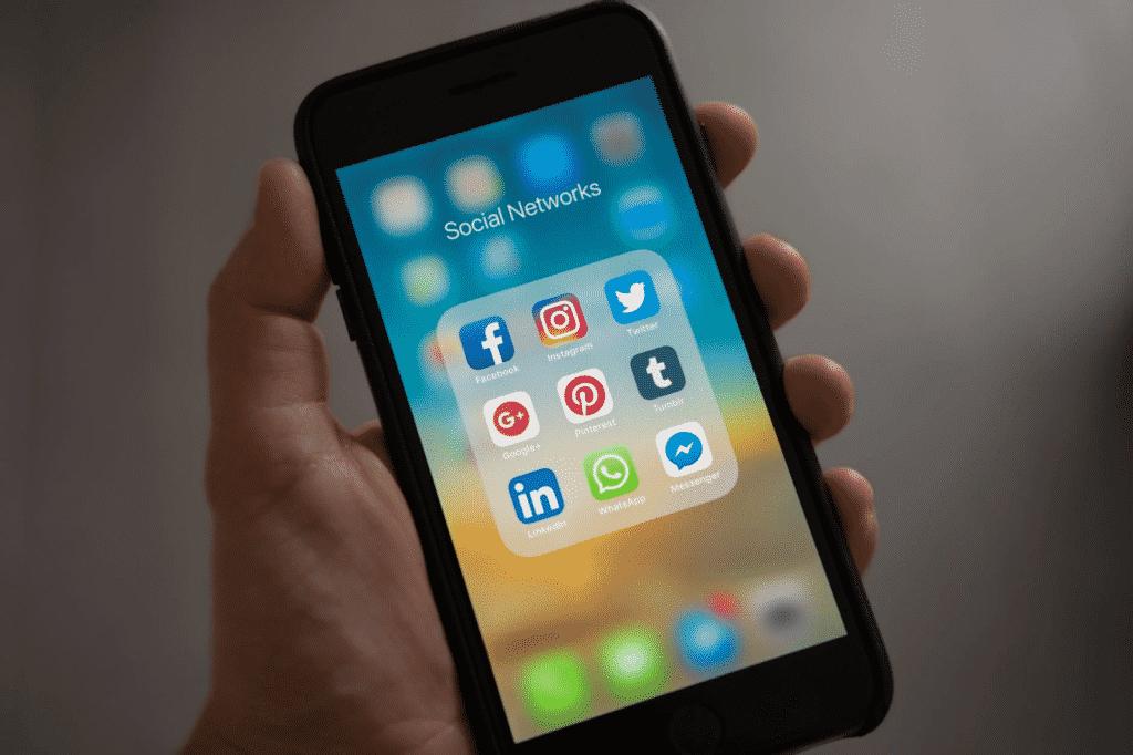 smartphone showing social media apps