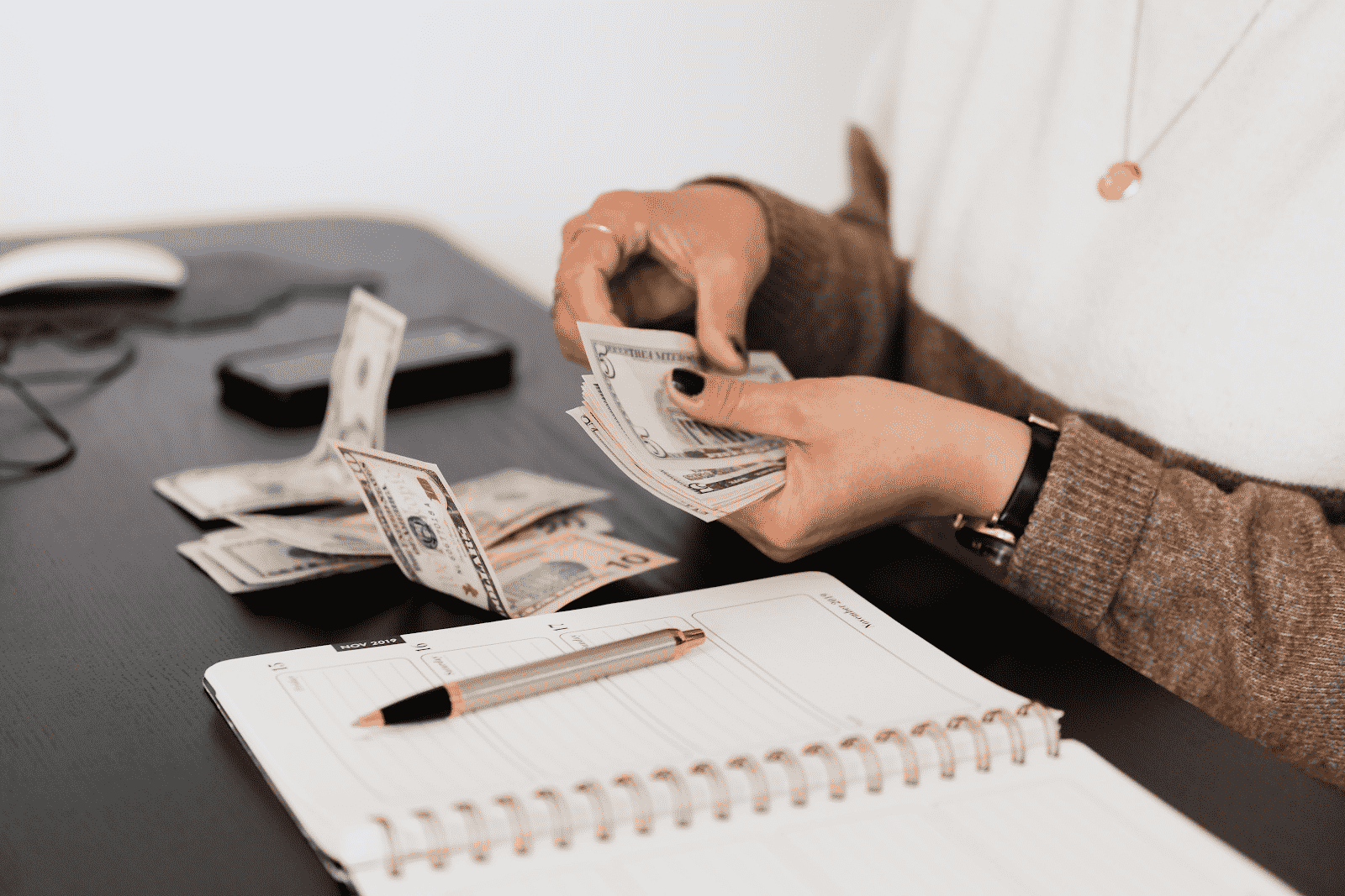 Women counting her money